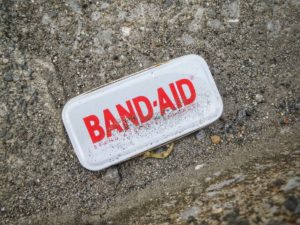 Picture of bandaid. A patch.